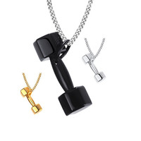 Male Punk Jewelry Necklace Black Titanium Dumbbell Pendant Stainless Steel Chain Necklace for Men and Women Sports Jewelry