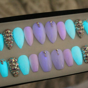 Glow In The Dark Press on Nails | False Nails | AB Swarovski Crystals | Fake Nails | Custom Shapes Sizes
