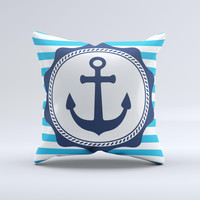 Vector Navy Anchor with Blue Stripes ink-Fuzed Decorative Throw Pillow