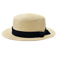 New Fashion Beige Colour Flat  Hat Women's Summer Bow Straw Hats Women Beach Headwear Solid Colour Casual