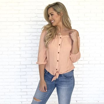 Good Vibes Only Off Shoulder Blouse In Apricot