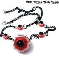 EVIL EYE NECKLACE  ghoulish horror eyeball psychobilly goth deathrock