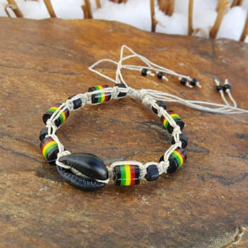 Hemp Bracelet, Adjustable Bracelet, Cowrie Shell Bracelet, Rasta Hemp Jewelry, Handmade, Hemp Jewelry, Beach Jewelry, Surfer Girl Jewelry
