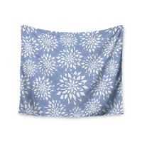 "Julia Grifol ""Blue Garden"" Aqua White Wall Tapestry"