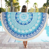 Special Round 150cm Indian Elephant Towel Scarve Mandala Tapestry Beach Picnic Throw Rug Blanket Polyester Beach Towel Dec05
