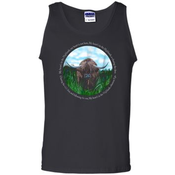 Highland Cow My Heart's In The Highlands Robert Burns Poem Tank Top