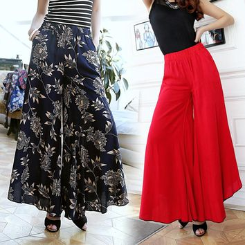 Summer slim fluid wide leg pants female trousers fancy plus size wide-leg pants feet straight casual boot cut