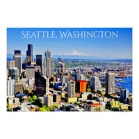 36X24 SEATTLE SKYLINE PREMIUM CANVAS GLOSS POSTER