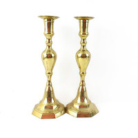 Pair of Large Brass Hollywood Regency Candlesticks / Tall Vintage Gold Taper Candle Holders / Home Decor / Set of 2 / Sculptural Accents