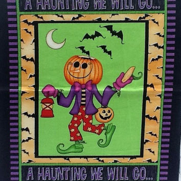 Happy Halloween - Halloween Pumpkin Man - A Haunting We Will Go - Trick Or Treat - Crafts Sewing - Halloween Quilt Block - Free Shipping