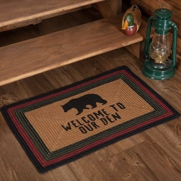 Wyatt Bear Welcome To Our Den Braided Rectangle Rug