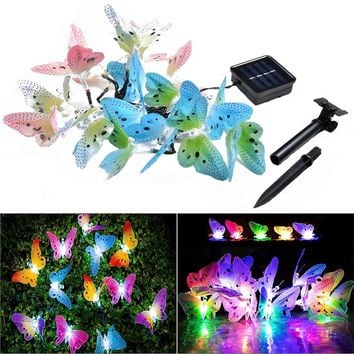 4.9M 20 LED Optic Butterfly Solar String Lights Christmas Fairy Garden Lights for Outdoor Home Lawn Patio Party and Holiday Decorations (Multi-color)