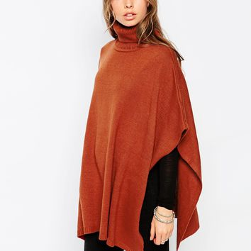 First & I Roll Neck Poncho at asos.com