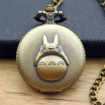 My Neighbor Totoro Steampunk Pocket Watch Necklace Chain Men Women Vintage Bronze Quartz Pocket Watches Clock