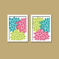 Bold Colorful Pink Lime Turquoise Floral Flower Burst Set of 2 Prints WALL Baby Decor Abstract ART Bedroom Bathroom NURSERY Picture Crib