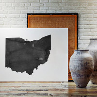 Ohio Watercolor Printable Art State Poster Ohio Gift Ohio Wall Art Ohio Poster State Watercolor Map Watercolor Poster Instant Download