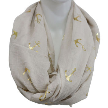 Free Shipping 2017 New Fashionable Beige Burgundy Shiny Bronzing Gold Anchor Infinity Scarf For Woman Lady