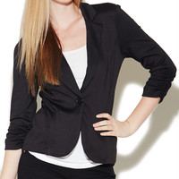 Ruched Sleeve Ruffle Blazer | Wet Seal