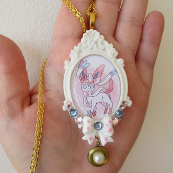 Pokémon Necklace - SYLVEON LOCKET Necklace - EEVEELUTION Jewelry - Pokemon X & Y
