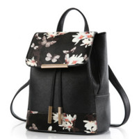 Leather Floral Print Backpack Travel Bag