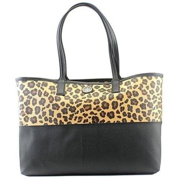 Tory Burch Kerrington Ocelot Print and Black Tote