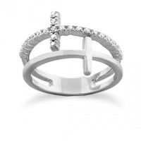 Rhodium Plated Double Cross Ring .925 Sterling Silver