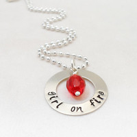 HUNGER GAMES hand stamped jewelry - Hunger Games Quote, Girl on Fire, Movie Quotes, Book Quotes