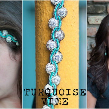 Turquoise Vine | Beaded Headband