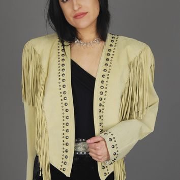 North American Frontier Studded Fringe Leather Jacket