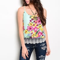 Lace Hem Floral Print Spaghetti Strap Top in Mint & Multi-Color