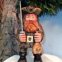 Pirate caricature carving, hand carved wood sculpture, unique gift for men, man cave decor, wood carving by Dan Easley