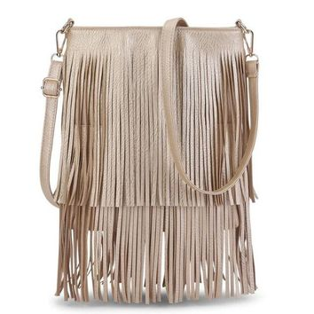 2017 NEW! Fringe Shoulder Bag   This Years Design For Messenger Crossbody Purse   GOLD