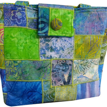 Large Purse in Blue, Teal and Green Batik