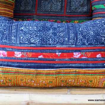 Vintage Embroidery Cross Stitch With Indigo Batik Hmong Lumbar Pillow Cushion Cover