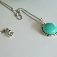 Turquoise Necklace, Round Turquoise Gemstone Sterling Silver Rhodium Plated Chain, Timeless Necklace,