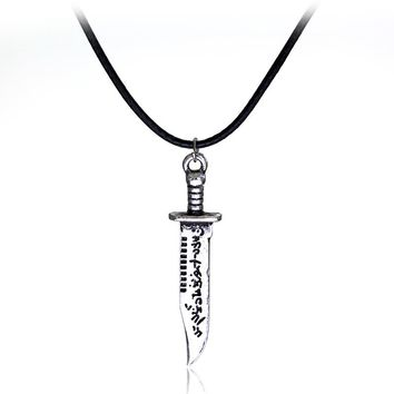 Movie Jewelry Supernatural necklace Dean Dagger Design Rope Leather Vintage pendant necklace High Quality Statement jewelry