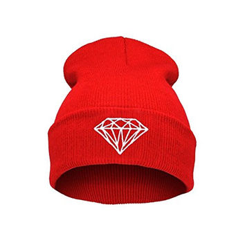 MuLuo Knitting Men Women Cap Diamond Pattern Beanies Winter Wool Hats Red