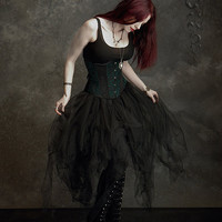 Cosette Fairy Skirt in Tulle and Velvet - Custom Elegant Gothic Clothing and Dark Romantic Couture