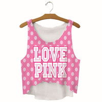 Summer Womens Cute LOVE PINK Dots Printed Show Hilum Tank Top Slim Sports Vest Gift - 42