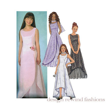 Girls' Special Occasion DRESS Evening Formal Party SLEEVELESS Gown Princess Seams & Stole Butterick 4120 Size 12 14 16 UNCUT Sewing Patterns