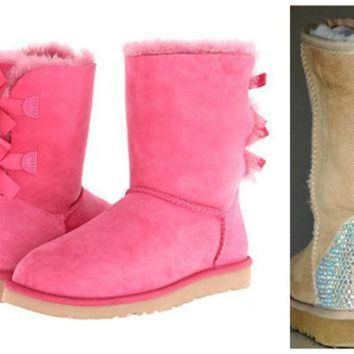 CHEN1ER Swarovski Crystal Embellished Pink Bailey Bow Uggs - Winter / Holiday Bling UGGs 2013