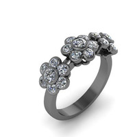 Diamond Band Flower Design Band 14K Black Gold Flower Ring - V1084