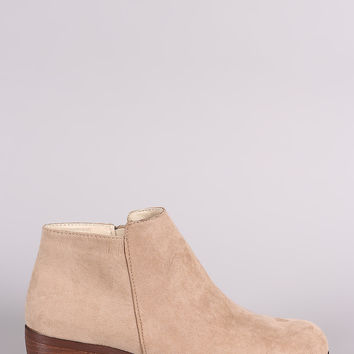 Qupid Suede Round Toe Cowgirl Ankle Boots