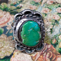 Navajo Green Turquoise Ring Sterling Silver