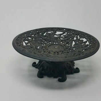 Vintage Iron Art Neoclassic Cast Iron Pedestal Stand