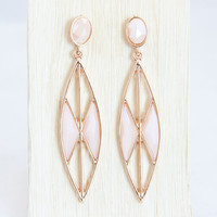 Pale Peach Geometric Earrings - Earrings