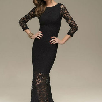 Evening Black Maxi Dress Lace,Sexy Fitted Dress Formal Party.