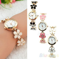 Korean Women Girl Fashion Daisies Flower Rose Golden Bracelet Wrist Watch = 1956988420