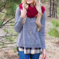 Can't Hardly Wait Sweater Top - Grey