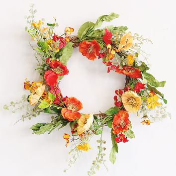 "Mixed Poppy Silk Flower Wreath - 20"" Wide"